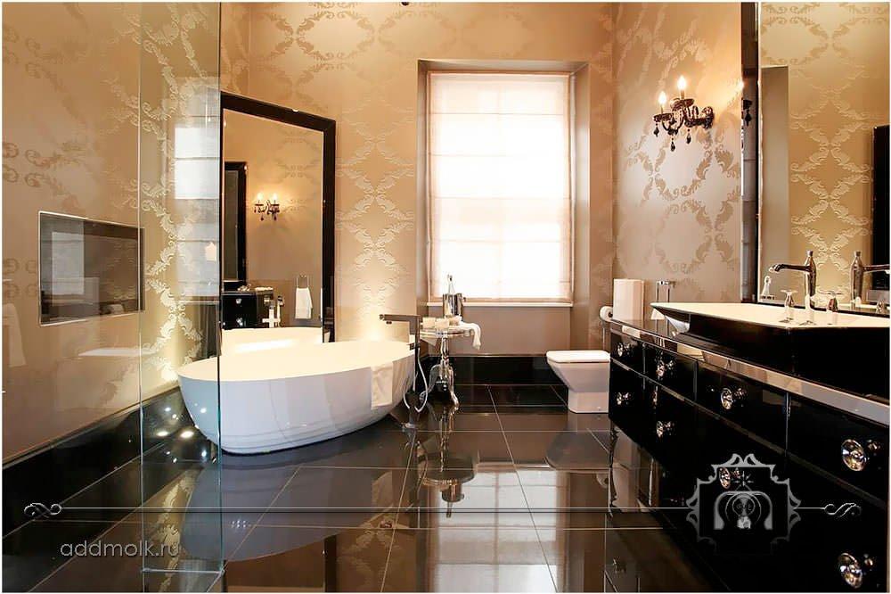 дизайн элитного санузла с ванной
