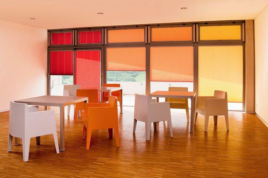 разноцветные шторы плиссе