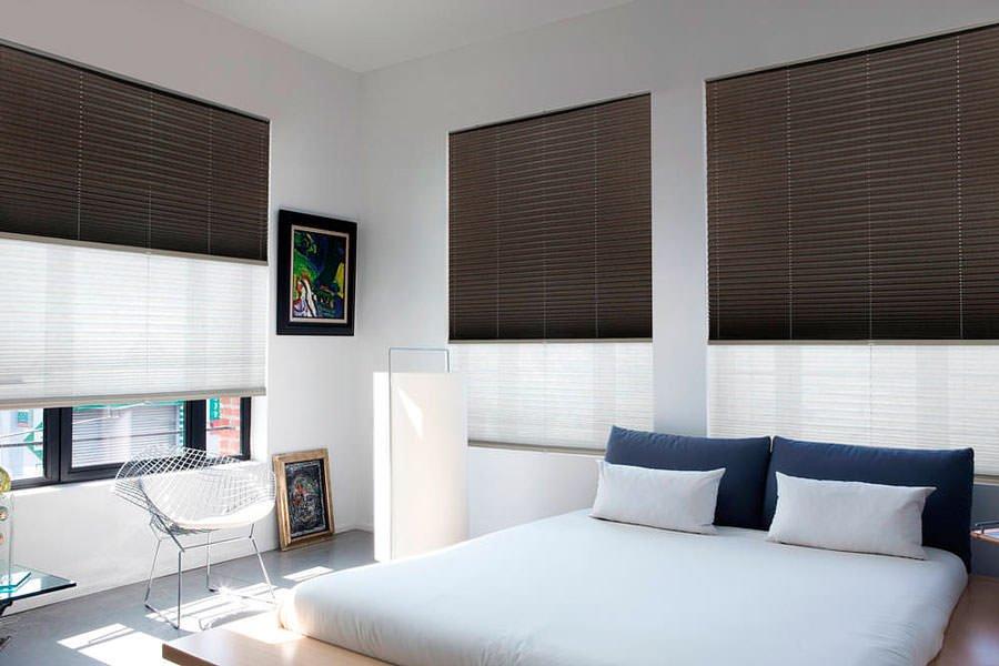 шторы плиссе в спальни