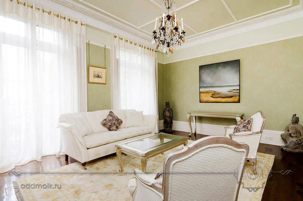 гостиная в оливковых тонах