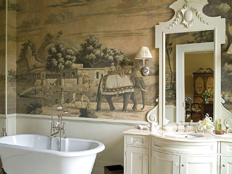 отделка ванной росписью