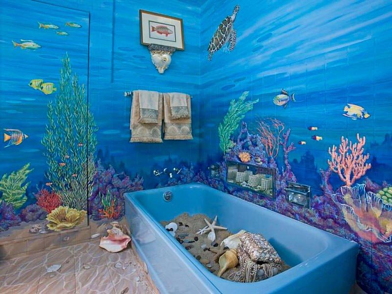 отделка ванной комнаты росписью