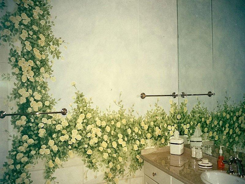 отделка стен ванной росписью