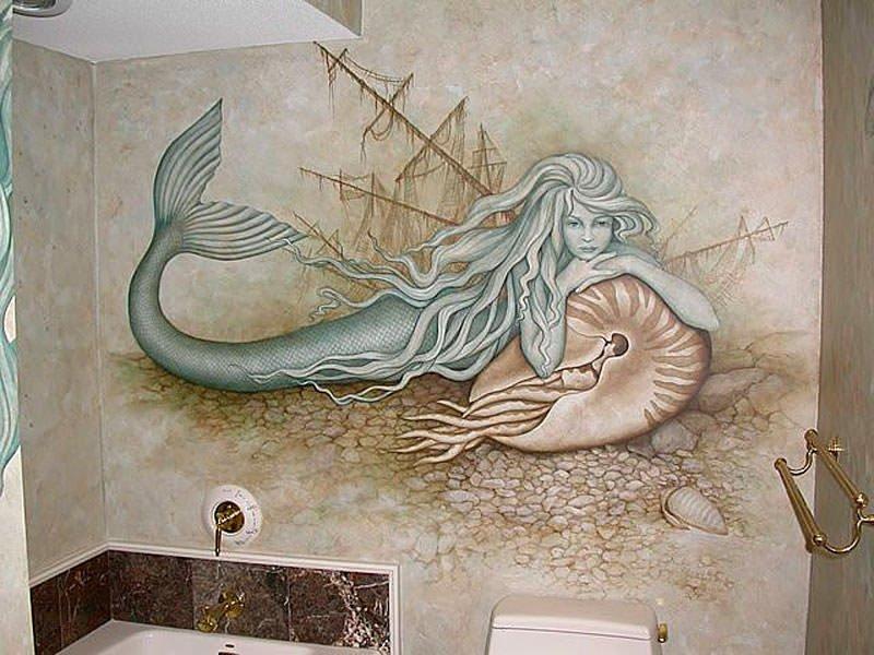 отделка ванной художественной росписью