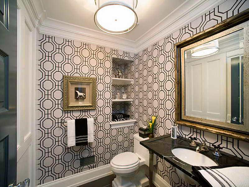 обои в дизайне ванной комнаты
