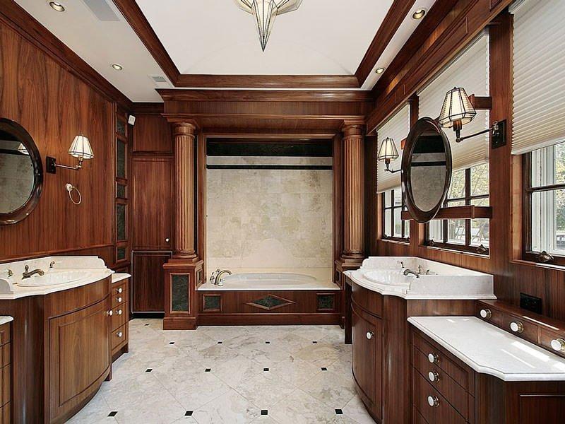 отделка ванной деревом