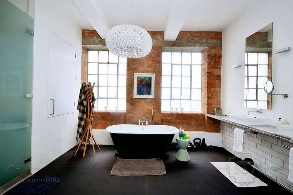 Ванная и спальня в стиле лофт