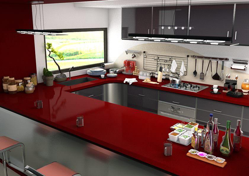 кварцевая столешница на кухни