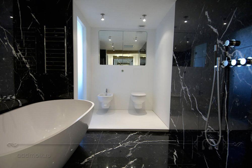 Черный интерьер в ванной 175